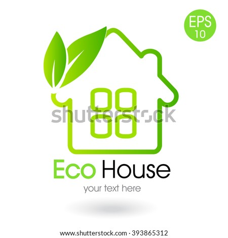 vector illustration of the green house - stock vector