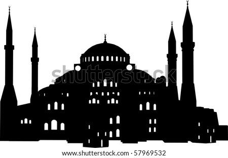 vector illustration of the Hagia Sophia, Istanbul - stock vector