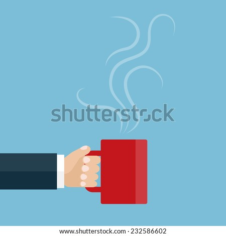 Vector illustration of the hand holding a red cup of tea or coffee. Coffee break. Flat design - stock vector