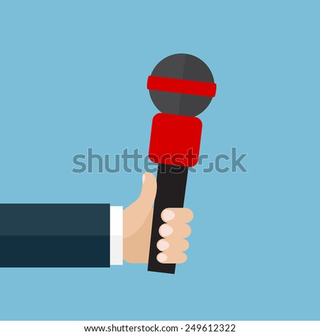 Vector illustration of  the hand  holding the red microphone. Flat design - stock vector