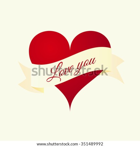 Vector illustration of the heart with the inscription love you. - stock vector