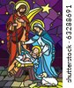 Vector illustration of the holy family of the nativity or birth of Jesus created as stained glass. - stock photo