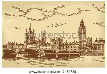 Vector illustration of the Houses of Parliament, seen across Westminster Bridge - stock vector