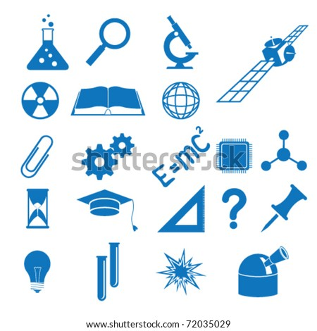 Vector illustration of the icons to subjects of the science - stock vector
