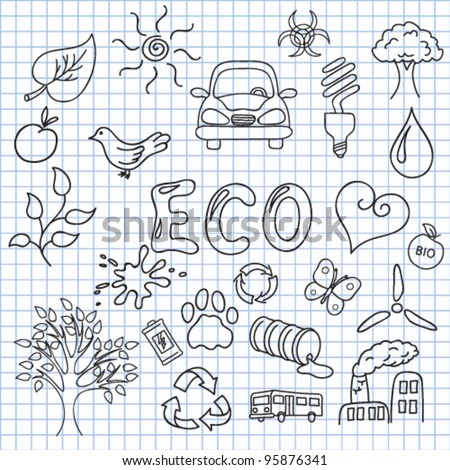 Vector illustration of the images on the theme of ecology - stock vector