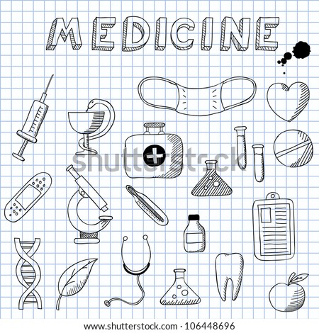 Vector illustration of the images on the theme of Medicine - stock vector