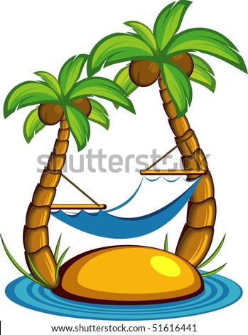 Vector illustration of the island with palm trees and a hammock. Over white - stock vector