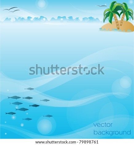 vector illustration of the island with palm trees on the background of the sea with gulls and sky with the fishes - stock vector