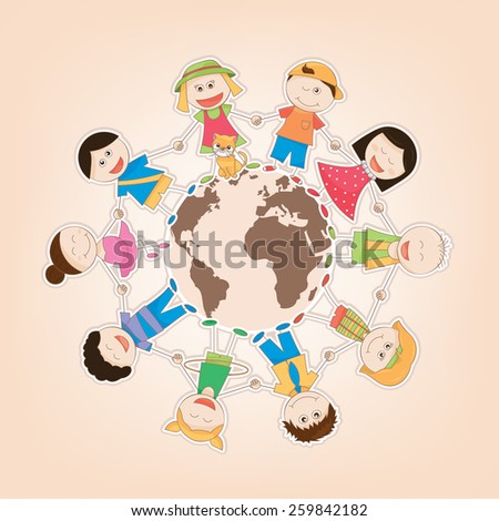 vector illustration of the kids around the world - stock vector