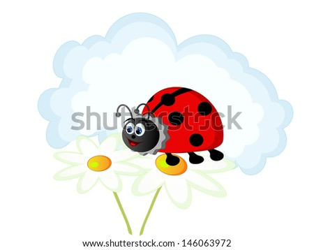 Vector illustration of the ladybird and cloud - stock vector