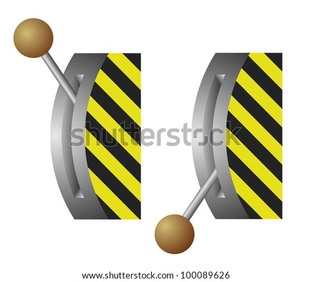 Vector illustration of the lever switch - on-off position - stock vector