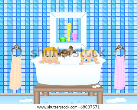 Vector illustration of the little childes bathing in a bathroom - stock vector