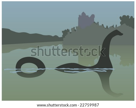 vector illustration of the Loch Ness monster swimming in front of Urquhart Castle in Loch Ness - stock vector