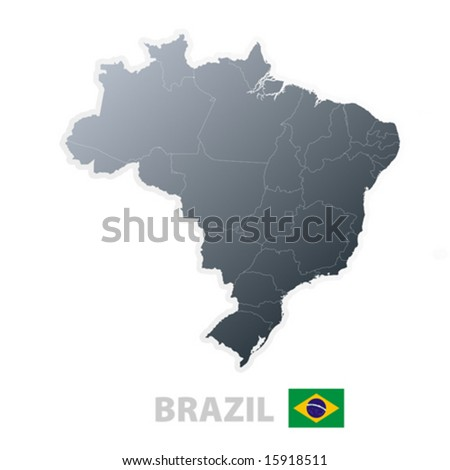 Vector illustration of the map with regions or states and the official flag of Brazil. - stock vector