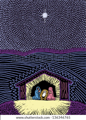 Vector illustration of the Nativity scene
