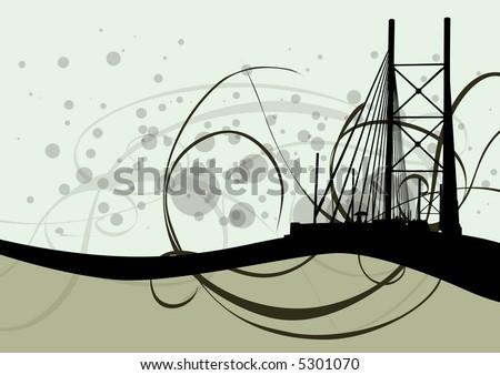 vector illustration of the Nelson Mandela bridge in Johannesburg South Africa - stock vector