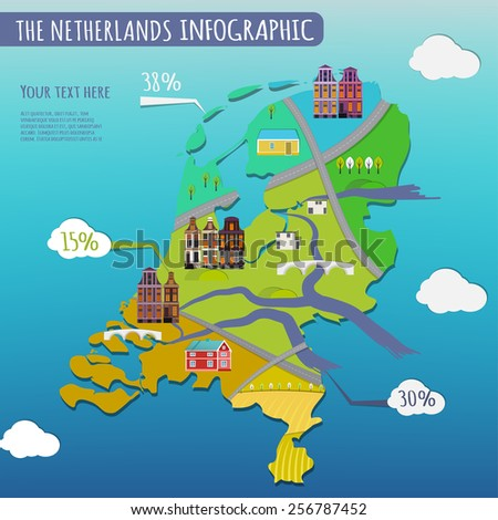 Vector illustration of The Netherlands infographics with stylish roads, rivers and buildings. Vector image.