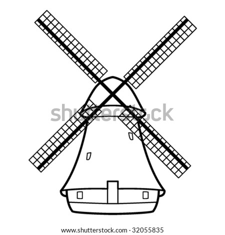 Vector illustration of the old windmill. - stock vector