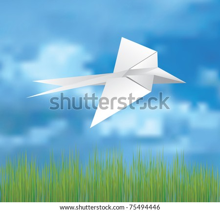 vector illustration of the origami bird on the sky - stock vector
