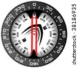 vector illustration of the original compass of black plastic with red arrows - stock photo