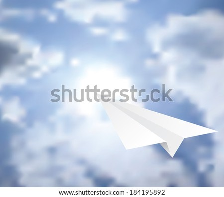 vector illustration of the paper plane on the cloudy sky  - stock vector