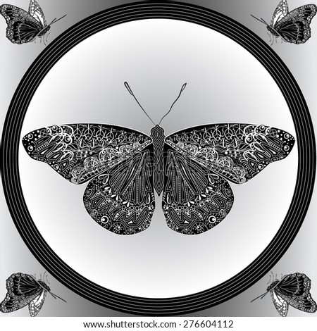 Vector illustration of the patterned butterflies in the frame with decorative abstract elements in the monochrome view.  - stock vector