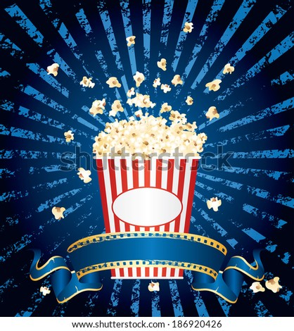vector illustration of the popcorn explosion on blue grunge burst with blank cinema banner - stock vector