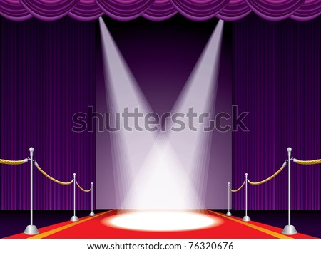 vector illustration of the red carpet on purple stage - stock vector