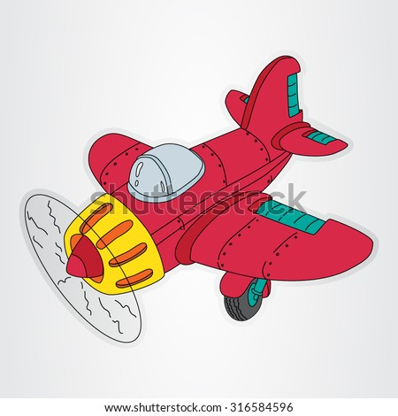 Vector illustration of the retro cartoon airplane with propeller for the kids. - stock vector