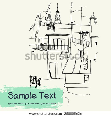 Vector illustration of the roofs, drawn in sketch style on a light yellow background. Barcelona, Catalonia, Spain. - stock vector
