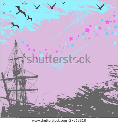 vector illustration of the sail on background blue sky - stock vector
