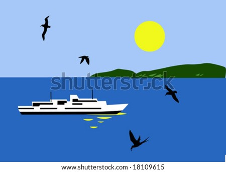 vector illustration of the sailboat seaborne - stock vector