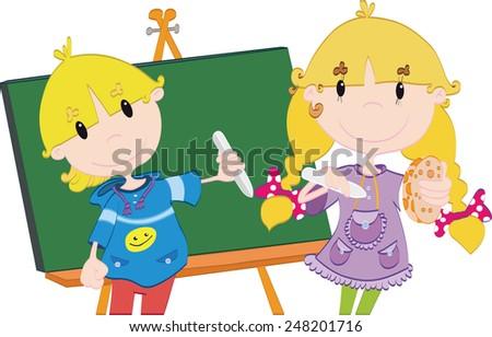 Vector illustration of the school kids - stock vector