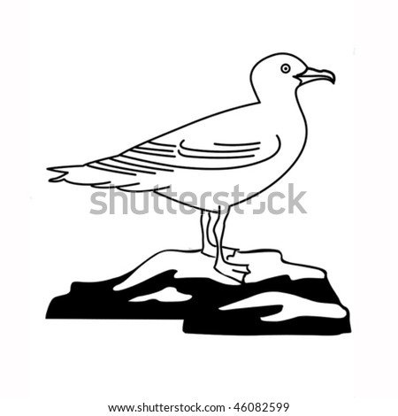 vector illustration of the sea gull on white background - stock vector