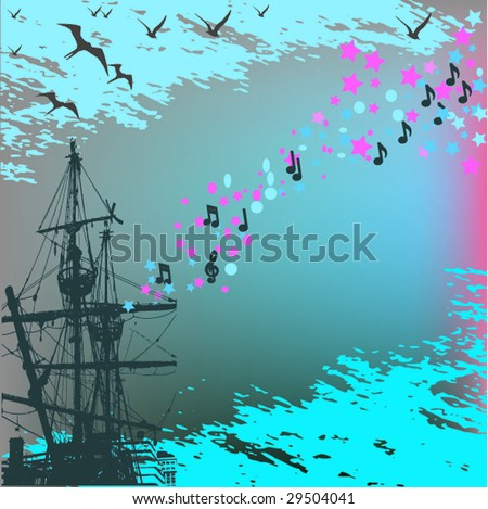 vector illustration of the ship on background blue sky - stock vector