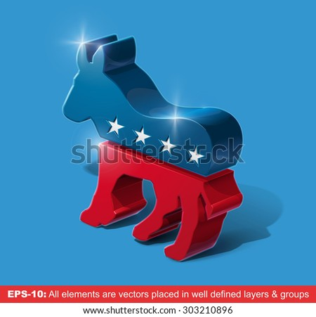 Vector illustration of the sign of United States Democratic party extruded in 3D. All graphic elements are vectors. - stock vector