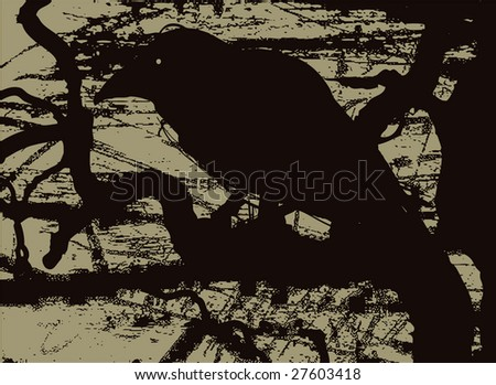 Vector illustration of the silhouette of a raven in grunge style. - stock vector