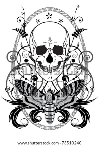 vector illustration of the skull and butterfly in black and white colors - stock vector