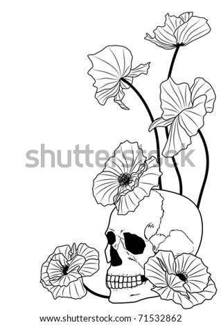 vector illustration of the skull and poppies in black and white colors - stock vector
