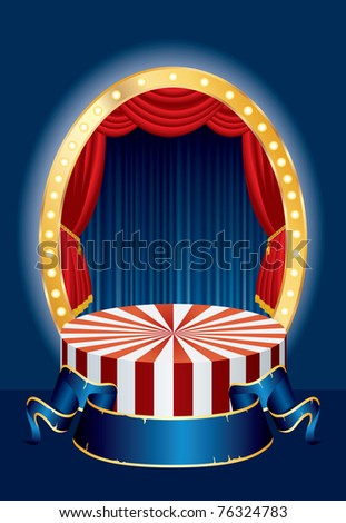 vector illustration of the small circus stage - stock vector
