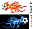 vector illustration of the soccer fireball - stock vector