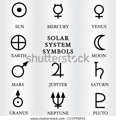 Vector Illustration Solar System Symbols Stock Vector Royalty Free