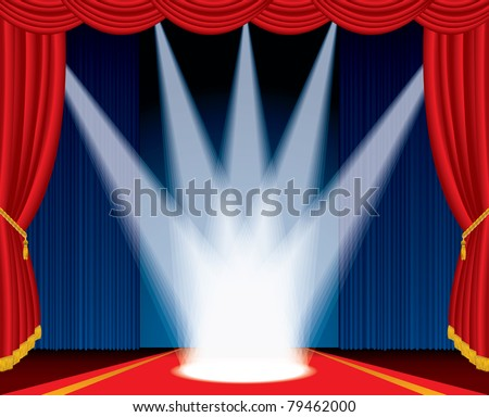vector illustration of the stage with spotlights like crown - stock vector