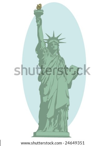 vector illustration of the statue of liberty - stock vector