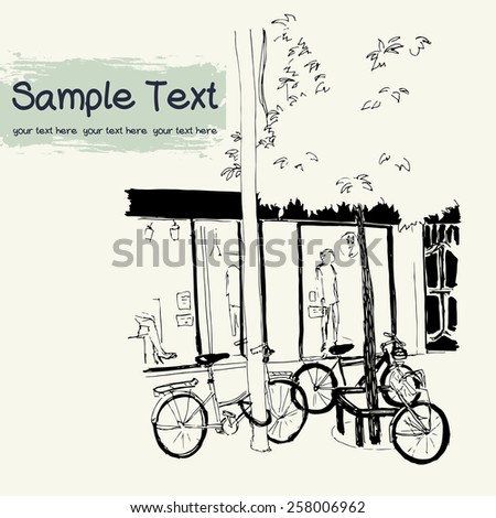 Vector illustration of the street drawn in sketch style on a light yellow background. Quiet street with parked bicycles, shop window and a tree in european town. Barcelona, Catalonia, Spain. - stock vector