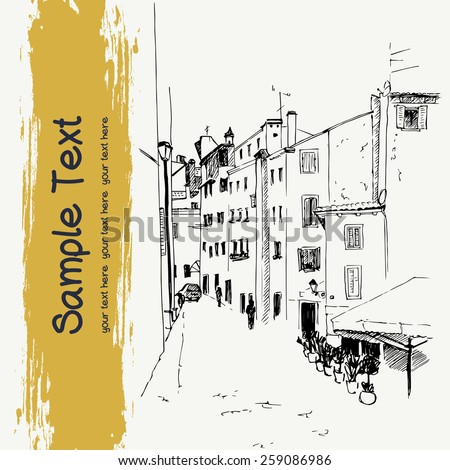 Vector illustration of the street, drawn in sketch style on a light yellow background. Quiet street perspective with lots of windows in an old european town. Rovinj, Croatia. - stock vector