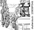 Vector illustration of the street drawn in sketch style on a white background. Quiet street with a tram in a Mediterranean town. Lisbon street. - stock vector