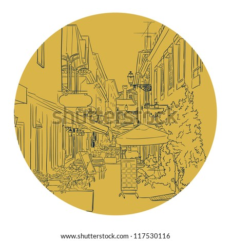 Vector illustration of the street drawn in sketch style. Quiet street with a street cafes in a Mediterranean town. Lisbon street. Portugal. - stock vector