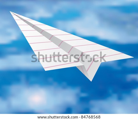 vector illustration of the striped paper plane, eps 10 file - stock vector