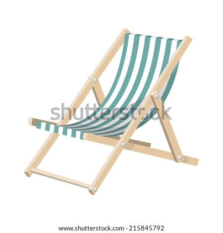 Vector illustration of the striped sunchair isolated over white background.
